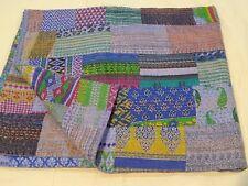 Indian kantha patchwork quilt cotton bedspread handmade twin size crazy blankets