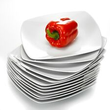 "Malacasa JULIA 12-Pieces 9.5"" Square Porcelain Dinner Plates for Home Kitchen"