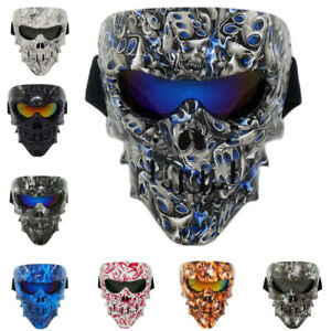 Skull Tactical Mask Paintball Airsoft Full Face Protective Vented Helmet Goggles