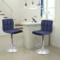 Set Of 2 Bar Stools Velvet Adjustable Height Swivel Pub Bistro Dining Chair