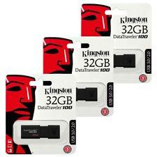 3 PACK 32GB USB 3.0 Kingston Data Traveler 100 G3 Flash Drive Memory Stick 32GB
