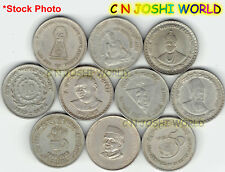 Very Rare 10 Different Copper-Nickel 5 Rupees Commemorative Five Rupees Coin Set