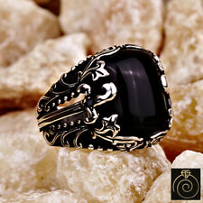 Men Black Onyx Stone Signet Ring 925 Silver Sword Viking Infinity Band Jewelry