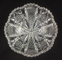 """Antique Hawkes ABP American Brilliant Cut Glass 8"""" Bowl - Signed"""
