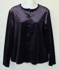 CAROLE LITTLE Purple Velvet Sliver Metallic Evening Jacket Blouse Size L NEW