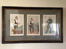 Antique Vintage 1880's Vanity Fair Pool Billiards Prints Full Set Museum Framed