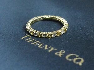 Tiffany & Co Yellow Sapphire & Diamond Shared Prong Eternity Band 18Kt .87Ct 5.5