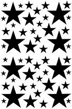 52 BLACK STARS VINYL GIRLS BEDROOM WALL DECALS STICKERS Teen Kids Baby Nursery