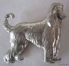 Nice Silver Tone Afhan Hound Dog Pin Brooch