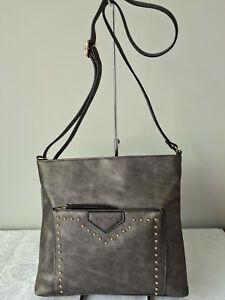 Vershe* Milleni (PV2407) dressy handbag, Cross body bag, studded, Pewter, NWT