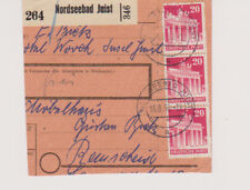 Bizone/construyeron, 85eg (3er), entre otras cosas, tarjetas de paquete parte Nordseebad Juist, 14.8.50