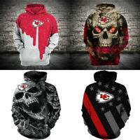 2020 New Hoodies Kansas City Chiefs Hooded Pullover 3D Print Sweatshirts Jacket