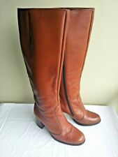 Vintage 1970s Womens Brown Leather Campus Boots 7 Nordstrom Knee High Heel