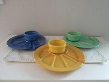 Hoffritz Fondue Appetizer Sushi Plates Serving Cup Set 3 Blue, Green, Yellow