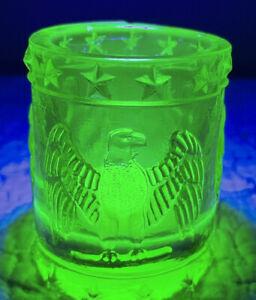 Vintage Kanawha Glow Green Vaseline Glass Toothpick Holder Eagle Stars