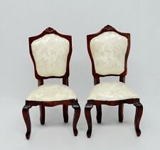 2 Vintage Upholstered Mahogany Chairs Dollhouse Miniature 1:12