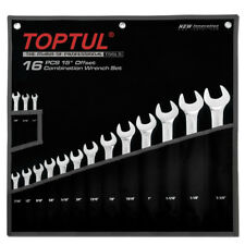 TOPTUL 16 Pieza 15 ° Offset estándar conjunto de llave de Combinación SAE 1/4in - 1 1/4