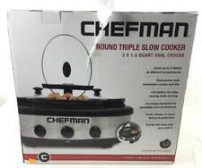 Chefman Round Triple Slow Cooker Lot 3086