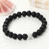 Women/Men Buddha Bracelets Smooth Stone Beads Fitness Energy Yoga Bangle Jewelry