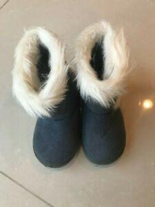 Little Girl blue fur boots Shoes Size 7