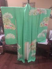 furisode silk seafoam green pine paulowania flower awase kinsai vintage antique