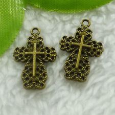 Free Ship 100 pieces bronze plated cross charms 21x14mm #1994