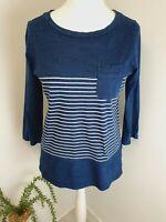 Cambridge Dry Goods Womens Cotton Stretch Top Denim Blue Stripe Pocket Uk 14