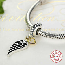 Love & Guidance Charm Feather Dangle Pendant Angle Wing Genuine Sterling Silver