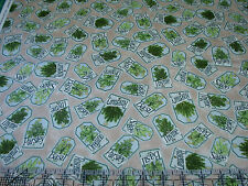 3 Yards Quilt Cotton Fabric - Quilting Treasures Herb Garden Herb Tags