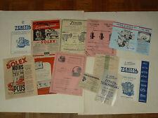 Lot 12 Prospectus Carburateur SOLEX ZENITH MAGNETO  & Divers catalogue auto
