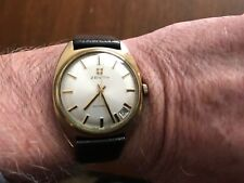 1976 VINTAGE MEN's ZENITH DATE @ 4/5 ROSE GOLD Flld CASE ORIGINAL DIAL