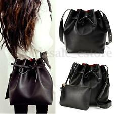 Leather Vintage Drawstring Bag Crossbody Shoulder Bucket Messenger Handbag Black