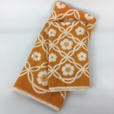 VTG Late 50s Early 60s Mod Sculpted Hand Towel Set Orange White Floral Retro