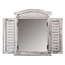 Wandspiegel Spiegelfenster mit Fensterläden 53x42x5cm, Shabby-Look, Vintage weiß