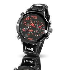 Mega XXL Triple Timer Fame Herrenuhr Stahl PU Leder Rot  Top Armbanduhr Uhr