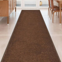 Custom Size SOLID BROWN Stair Hallway Runner Rug Non Slip Rubber Back