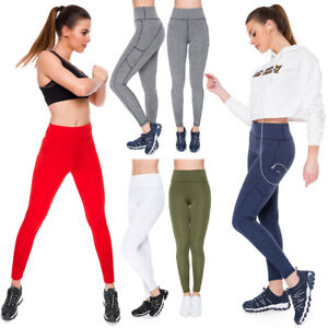 Womens Sports High Waisted Solid Leggings Yoga Gym Stretchy Pants Pockets PS01