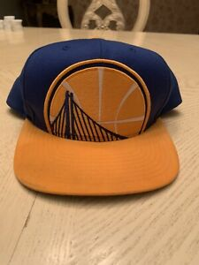 Golden State Warriors Mitchell and Ness Adjustable SnapBack Hat (Ink Mark)