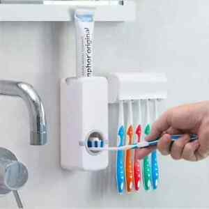 Automatic Toothpaste Dispenser with Toothbrush Holder Set Bathroom Wall Mount