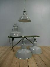 Large Vintage Industrial Antique Grey Enamel Factory Pendant Lights Lamps Last 2