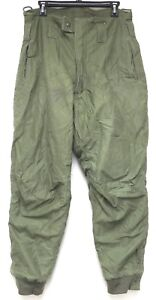 vtg US Navy COLD WEATHER TROUSERS MED 60s Green Intermediate 1961 Fleece Lined M
