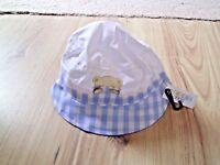 BABY TEDDY SUN HAT BOY GIRL TODDLER SUMMER BLUE WHITE CHILDREN 0-3 3-6 Months