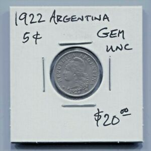 ARGENTINA - FANTASTIC HISTORICAL CUPRONICKEL 5 CENTAVOS, 1922, KM# 34
