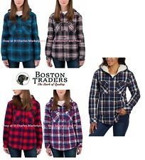 Boston Traders Ladies' Sherpa Lined Hooded Flannel Shirt Jacket, Pick Color Size