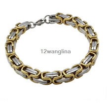 5mm Silver/Black/Gold Chain Bracelet for Mens Byzantine Link Stainless Steel