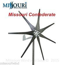 DC output Missouri Confederate 700 watt 7 blade 12 volt home wind turbine