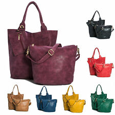 New Designer Ladies 3 in 1 Faux Leather Tote Shopper Handbag and Make up Bag