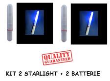 kit 2 starlight led blu + 2 batterie elettronico galleggiante pesca luce
