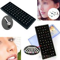 Indian Style 60pcs/set crystal Rhinestone Nose Ring Bone Studs Body Piercing Pin