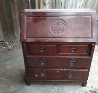 Mahogany Cherry Wood Slant front Secretary Desk Draw Antique Office Furniture